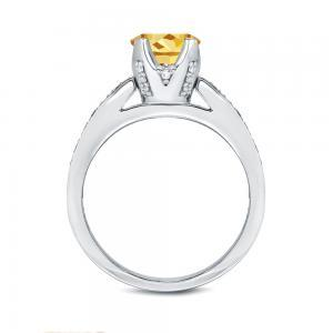 Yellow Diamond Engagement Ring In 14K White Gold