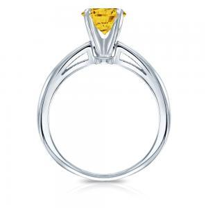 Yellow Diamond Solitaire Engagement Ring In 14K White Gold