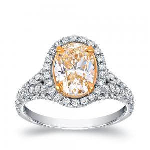 Fancy Yellow Oval Diamond Engagement Ring In 18K Two Tone