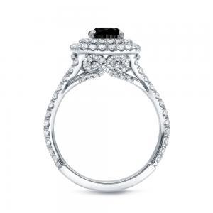 Black Cushion Cut Engagement Ring In 14K White Gold