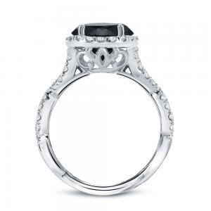 Black Diamond Round Cut Halo Engagement Ring In 14K White Gold