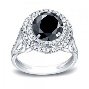 Black Diamond Round Cut Double Halo Engagement Ring In 14K White Gold