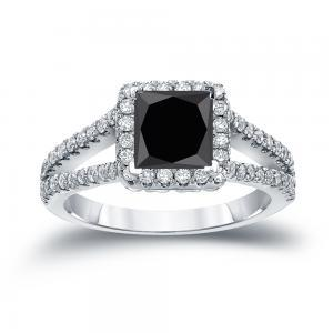 Black Diamond Princess Cut Halo Engagement Ring In 14K White Gold