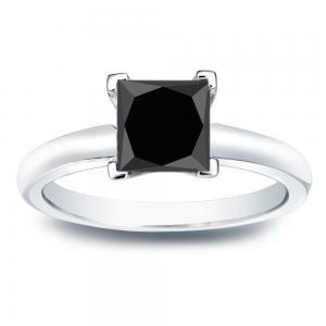 Black Diamond Princess Cut Solitaire Engagement Ring In 14K White Gold