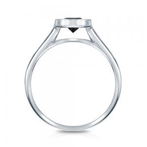 Black Diamond Round Cut Bezel Solitaire Engagement Ring In 14K White Gold