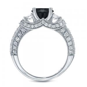 Black Diamond Round Cut Engagement Ring In 14K White Gold