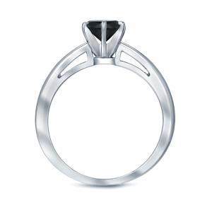 Black Diamond Round Cut Solitaire Engagement Ring In 14K White Gold