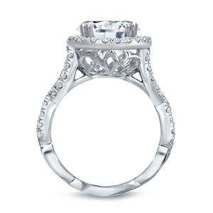 Oval Cut Diamond Halo Engagement Ring In 14k White Gold