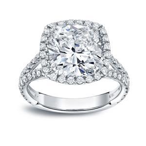 Cushion Cut Diamond Halo Engagement Ring In 14k White Gold