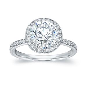 Round Cut Diamond Engagement Ring In 14k White Gold