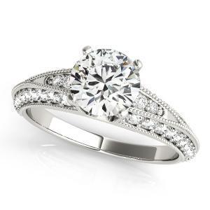 Aria Vintage Diamond Engagement Ring in 14K White Gold