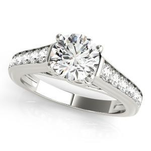 Diva Diamond Engagement Ring in 14K White Gold