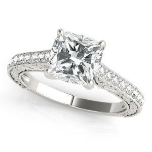 Lilac Vintage Diamond Engagament Ring in 14K White Gold