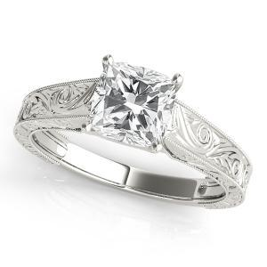 Ashton Vintage Solitaire Diamond Engagement Ring in 14K White Gold