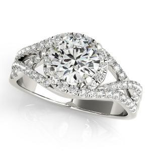 Alexis Halo Diamond Engagement Ring in 14K White Gold