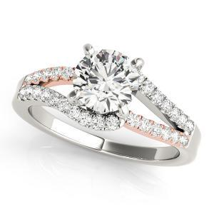 Sylvie Modern Diamond Engagement Ring in 14K White and Rose Gold