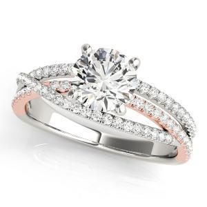 Nadia Modern Diamond Engagement Ring in 14K White and Rose Gold