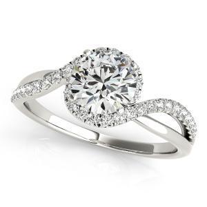 Ashley Halo Diamond Engagement Ring in 14K White Gold