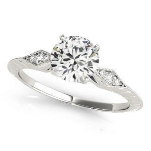 Chloe Vintage Diamond Engagement Ring in 14K White Gold