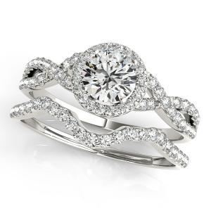Charlotte Halo Diamond Engagement Ring with Wedding Ring  Prong Set in 14K White Gold