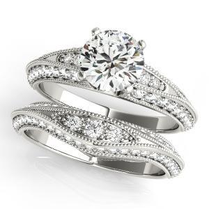Aria Vintage Diamond Engagement Ring with Wedding Ring in 14K White Gold