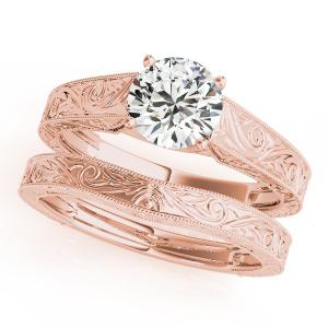 Florence Vintage Solitaire Diamond Engagement Ring with Wedding Ring in 14K Rose Gold