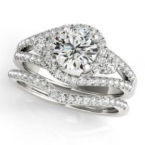 Emily Halo Diamond Engagement Ring with Wedding Ring in 14K White Gold