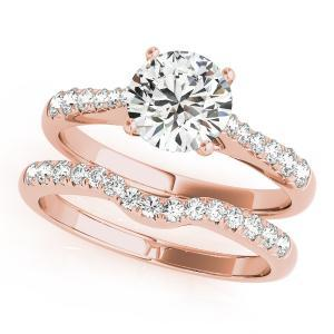 Cher Diamond Engagement Ring with Wedding Ring in 14K Rose Gold