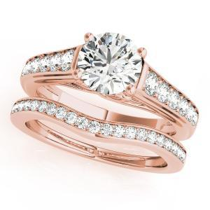 Diva Diamond Engagement Ring with Wedding Ring in 14K Rose Gold