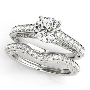 Lisa Diamond Engagement Ring with Wedding Ring in 14K White Gold