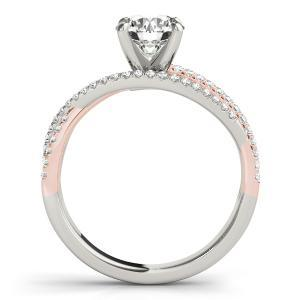 Nadia Modern Diamond Engagement Ring with Wedding Ring in 14K White and Rose Gold