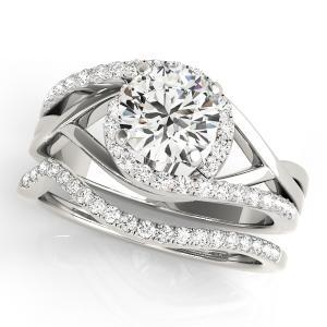 Adria Halo Diamond Engagement Ring with Wedding Ring in 14K White Gold