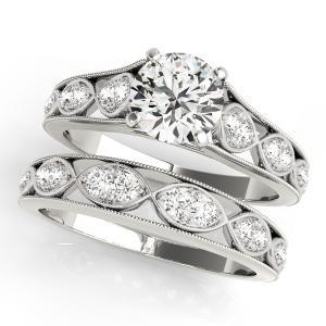 Gila Vintage Diamond Engagement Ring with Wedding Ring in 14K White Gold
