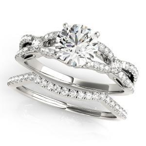Jolie Modern Diamond Engagement Ring with Wedding Ring in 14K White Gold
