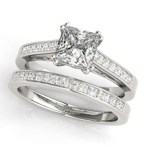 Aster Diamond Engagement Ring with Wedding Ring in 14K White Gold