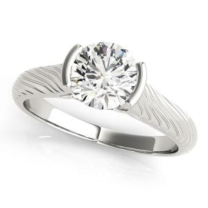 Fleur-de-lis Vintage Solitaire Diamond Engagement Ring in 14K White Gold