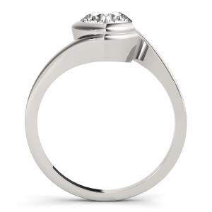 Lune Modern Solitaire Diamond Engagement Ring in 14K White Gold